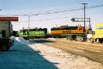 BNSF 2137, 2931 crossing the road